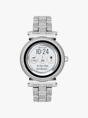 Michael Kors Sofie Pave Silver-Tone Smartwatch,SILVER