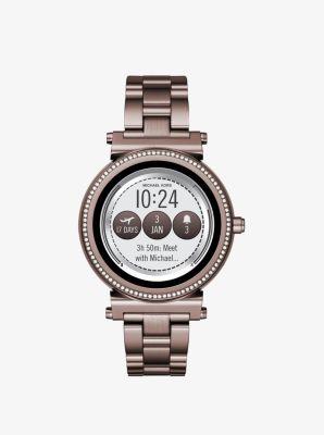 Michael Kors Sofie Pave Sable-Tone Smartwatch,SABLE