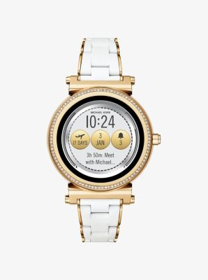 Michael Kors Sofie Pave Gold-Tone and Silicone Smartwatch,GOLD