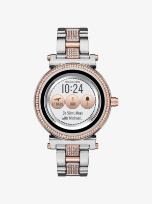 Michael Kors Sofie Pave Two-Tone Smartwatch,SILVER