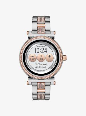 마이클 코어스 Michael Kors Sofie Pavé Two-Tone Smartwatch,SILVER