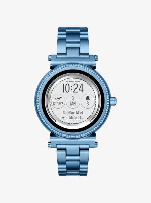 Michael Kors Sofie Pave Blue-Tone Smartwatch,BLUE