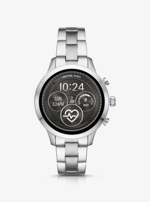 Michael Kors Runway Heart Rate Silver-Tone Smartwatch,SILVER