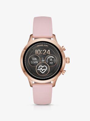 마이클 코어스 Michael Kors Runway Rose Gold-Tone and Silicone Smartwatch,ROSE GOLD