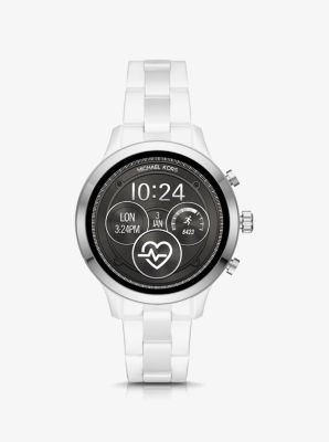 Michael Kors Runway Silver-Tone and Ceramic Smartwatch,WHITE