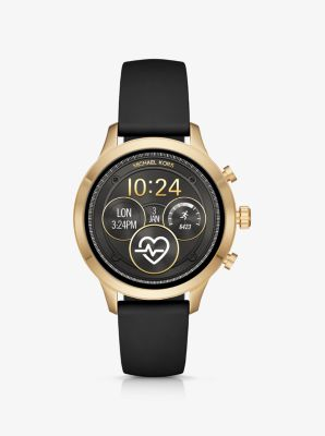 Michael Kors Runway Gold-Tone and Silicone Smartwatch,GOLD