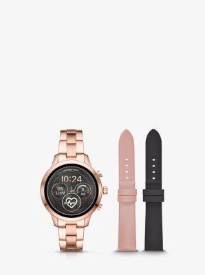 Michael Kors Runway Rose Gold-Tone Smartwatch Set,ROSE GOLD