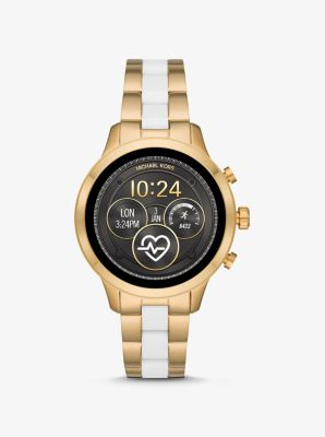 Michael Kors Runway Heart Rate Gold-Tone and Silicone Smartwatch,TWO TONE
