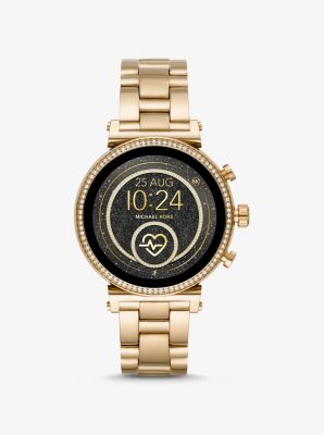 Michael Kors Sofie Heart Rate Gold-Tone Smartwatch,GOLD