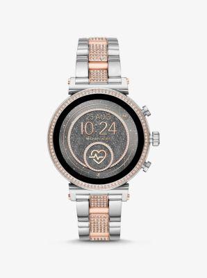 마이클 코어스 투톤 스마트와치 Michael Kors Sofie Heart Rate Pave Two-Tone Smartwatch,TWO TONE