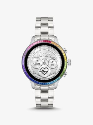 Michael Kors Runway Heart Rate Acetate and Rainbow Pave Smartwatch,SILVER