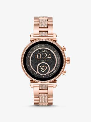 마이클 코어스 페이브 골드톤 스마트워치 - 로즈골드 Michael Kors Sofie Heart Rate Pave Rose Gold-Tone Smartwatch,ROSE GOLD
