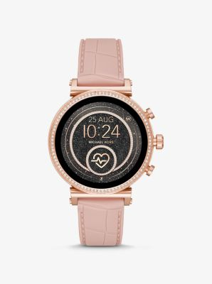 Michael Kors Sofie Heart Rate Rose Gold-Tone and Embossed Silicone Smartwatch,PINK