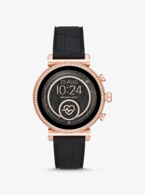 Michael Kors Sofie Heart Rate Rose Gold-Tone and Embossed Silicone Smartwatch,BLACK