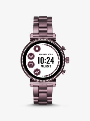 Michael Kors Sofie Heart Rate Pave Lavender-Tone Smartwatch,LAVENDER