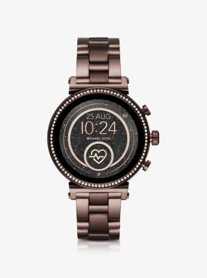Michael Kors Sofie Heart Rate Pave Sable-Tone Smartwatch,SABLE