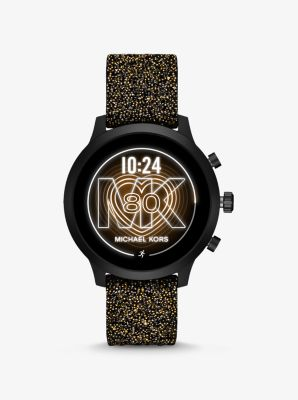 Michael Kors Access MKGO Black-Tone Embellished Silicone Smartwatch,BLACK