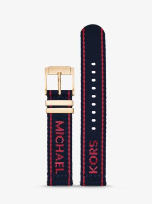 Michael Kors Runway Logo Tape Nylon Smartwatch Strap,NAVY