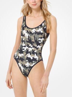 마이클 마이클 코어스 수영복 Michael Michael Kors Camouflage Maillot,BLACK/IVY