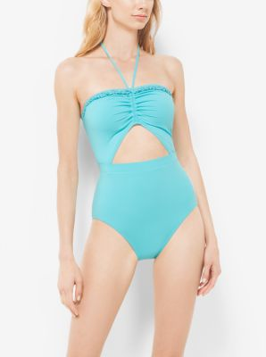Beaded Halter Cutout Maillot by Michael Kors
