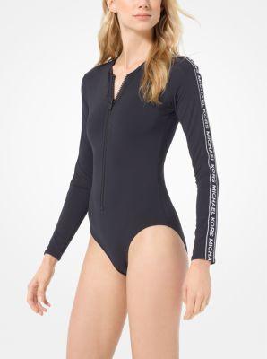 마이클 마이클 코어스 수영복 Michael Michael Kors Logo Tape Surf Swimsuit,BLACK