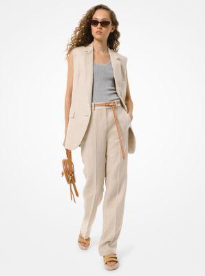 마이클 마이클 코어스 워싱 린넨 오버핏 조끼 Michael Michael Kors Washed Linen Boyfriend Vest,HEMP