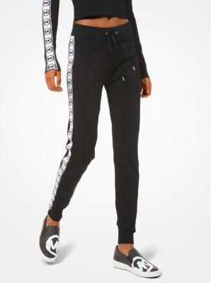 마이클 마이클 코어스 로고 테이프 조거 팬츠 Michael Michael Kors Logo Tape Viscose Joggers,BLACK/WHITE
