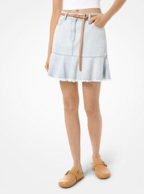 마이클 마이클 코어스 Michael Michael Kors Flounce Denim Skirt,STONE BLUE WASH