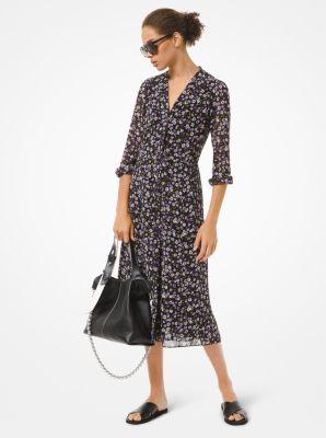 마이클 마이클 코어스 플로럴 조젯 셔츠원피스 Michael Michael Kors Floral Georgette Shirtdress,ORCHID