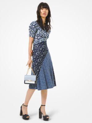 마이클 마이클 코어스 Michael Michael Kors Mixed Floral Matte Jersey Ruched-Sleeve Dress,CHAMBRAY