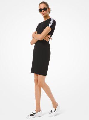 마이클 마이클 코어스 로고 원피스 Michael Michael Kors Logo Tape Ribbed Stretch Viscose Dress