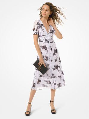 마이클 마이클 코어스 플로럴 버튼 원피스 Michael Michael Kors Floral Georgette Button-Front Dress,LAVENDER MIST