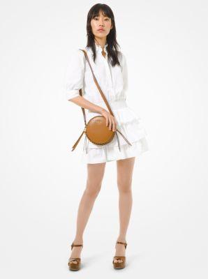 마이클 마이클 코어스 Michael Michael Kors Cotton Poplin Ruffled Dress,WHITE