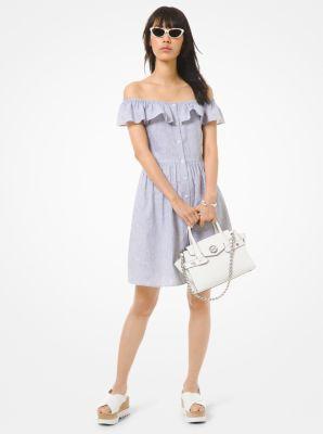 마이클 마이클 코어스 Michael Michael Kors Striped Linen and Cotton Off-The-Shoulder Dress,TRUE NAVY