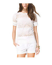 Embroidered Eyelet Cotton T-Shirt