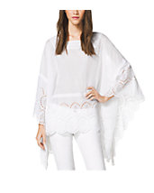 Embroidered Eyelet Cotton Poncho