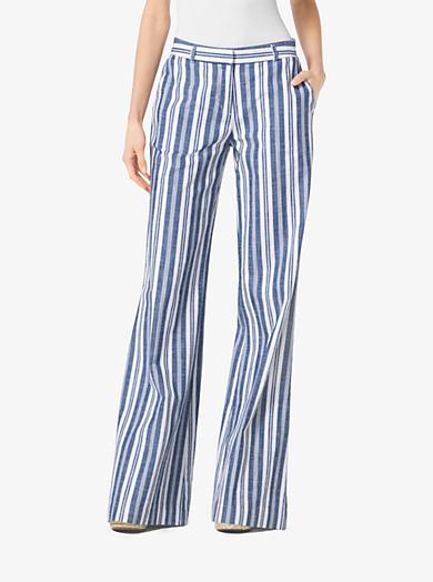 Striped Linen Wide-Leg Pants by Michael Kors