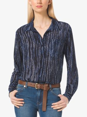 Printed Button-Down Blouse by Michael Kors