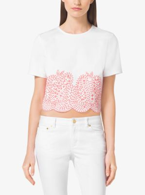 Embellished Cropped Denim Top by Michael Kors