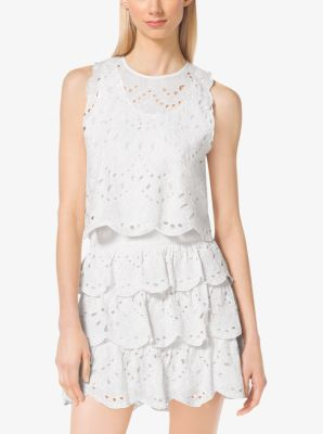 Cropped Eyelet-Embroidered Cotton Top by Michael Kors