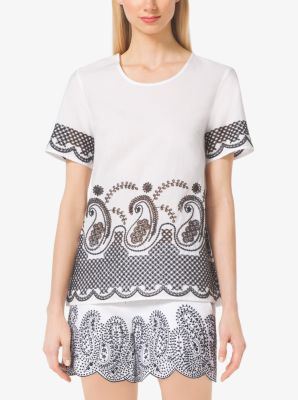 Embroidered Cotton-Voile Top by Michael Kors