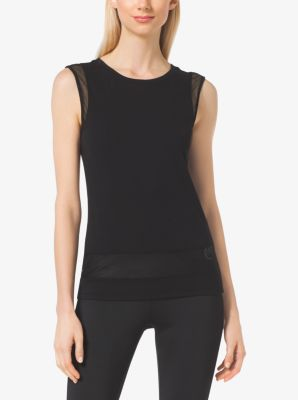 Active Mesh-Panel Jersey Top by Michael Kors