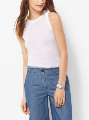 Linen-Blend Tank Top by Michael Kors