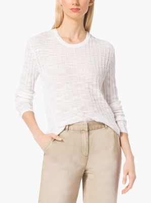 Ribbed Cotton-Blend Sweater by Michael Kors