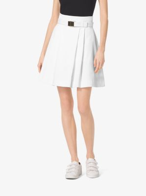 Belted Stretch-Cotton Skirt by Michael Kors
