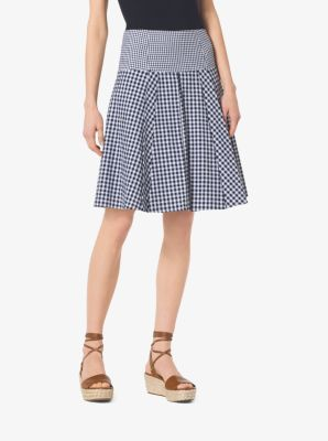 Pleated Gingham Cotton-Blend Skirt by Michael Kors