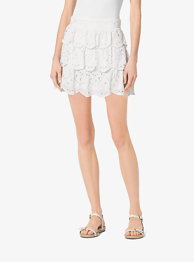 Scalloped Eyelet-Embroidered Cotton Skirt by Michael Kors