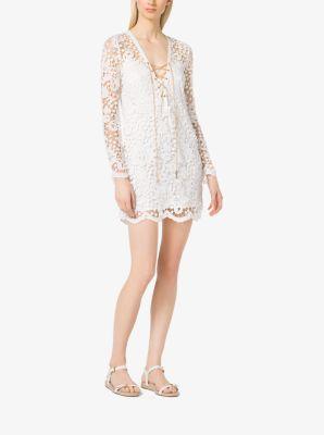 Lace-Up Lace Tunic Dress by Michael Kors