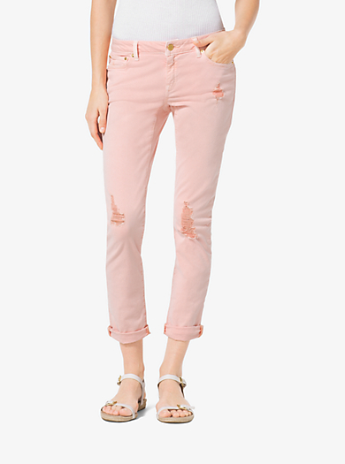 Distressed Cropped Skinny Jeans by Michael Kors