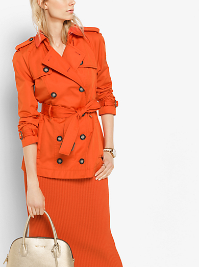 Double-Breasted Tech Trench Coat by Michael Kors